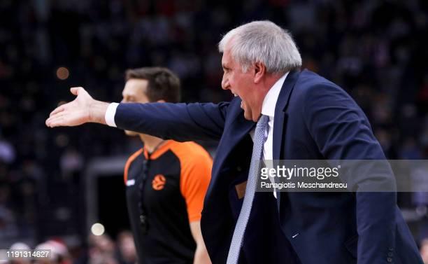 Zeljko Obradovic Head Coach of Fenerbahce Beko Istanbul react during the 2019/2020 Turkish Airlines EuroLeague Regular Season Round 17 match between...