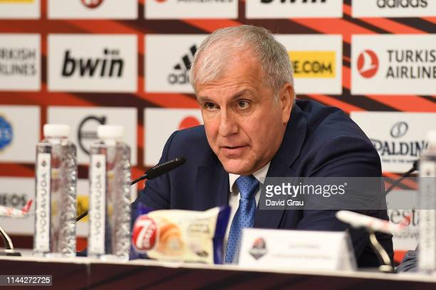 Zeljko Obradovic Head Coach of Fenerbahce Beko Istanbul speaks at the press conference after 2019 Turkish Airlines EuroLeague Final Four Semifinal A...