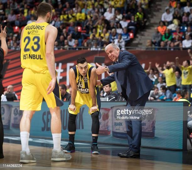 Zeljko Obradovic Head Coach of Fenerbahce Beko Istanbul talk to Kostas Sloukas #16 and Marko Guduric #23during 2019 Turkish Airlines EuroLeague Final...