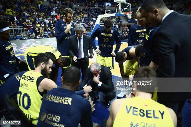 Zeljko Obradovic Head Coach of Fenerbahce Dogus and bench in action during the 2017/2018 Turkish Airlines EuroLeague Regular Season Round 12 game...