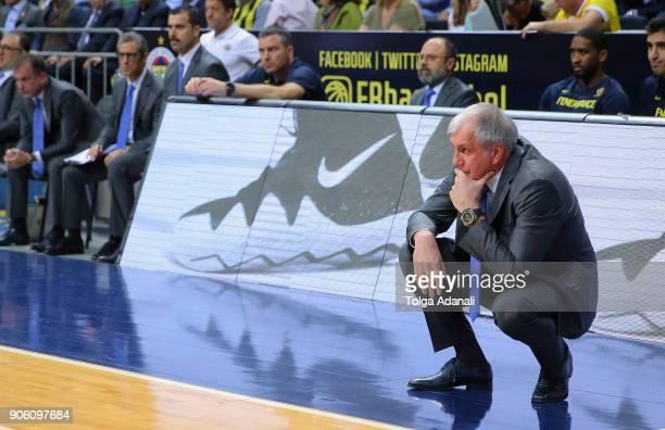 Zeljko Obradovic Head Coach of Fenerbahce Dogus during the 2017/2018 Turkish Airlines EuroLeague Regular Season Round 18 game between Fenerbahce...