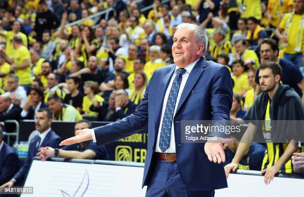 Zeljko Obradovic Head Coach of Fenerbahce Dogus in action during the Turkish Airlines Euroleague Play Offs Game 1 between Fenerbahce Dogus Istanbul v...