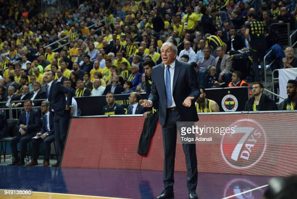 Zeljko Obradovic Head Coach of Fenerbahce Dogus in action during the Turkish Airlines Euroleague Play Offs Game 2 between Fenerbahce Dogus Istanbul v...