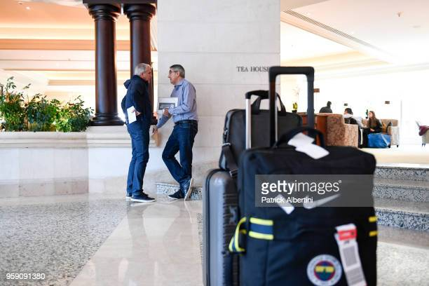 Zeljko Obradovic Head Coach of Fenerbahce Dogus Istanbul and Jordi Bertomeu president and CEO of Euroleague Basketball during the Fenerbahce Dogus...