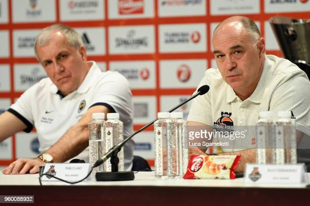 Zeljko Obradovic Head Coach of Fenerbahce Dogus Istanbul and Pablo Laso Head Coach of Real Madrid during the 2018 Turkish Airlines EuroLeague F4...