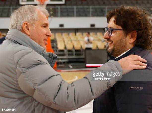 Zeljko Obradovic Head Coach of Fenerbahce Dogus Istanbul Andrea Trincheri Head Coach of Brose Bambergbefore the 2017/2018 Turkish Airlines EuroLeague...