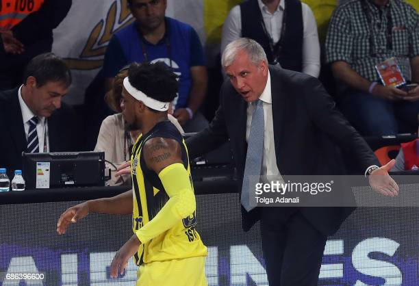 Zeljko Obradovic Head Coach of Fenerbahce Istanbul and Bobby Dixon #35 of Fenerbahce Istanbul in action during the Championship Game 2017 Turkish...