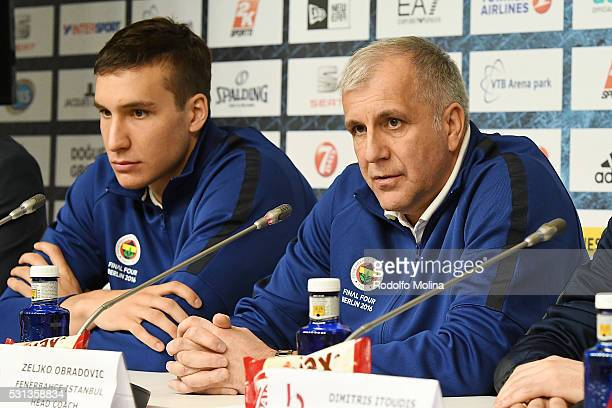 Zeljko Obradovic Head Coach of Fenerbahce Istanbul and Bogdan Bogdanovic #13 during the Turkish Airlines Euroleague Basketball Final Four Berlin 2016...