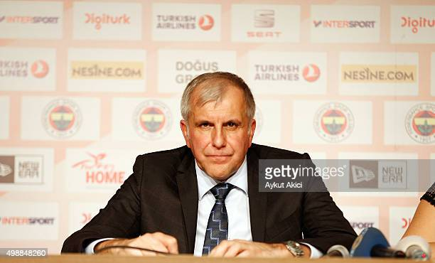 Zeljko Obradovic Head Coach of Fenerbahce Istanbul answers questions from the media at press conference prior to the Turkish Airlines Euroleague...