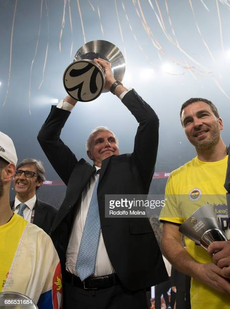 Zeljko Obradovic Head Coach of Fenerbahce Istanbul during the 2017 Final Four Istanbul Turkish Airlines EuroLeague Champion Trophy Ceremony at Sinan...