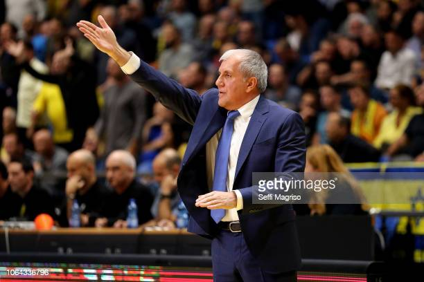 Zeljko Obradovic Head Coach of Fenerbahce Istanbul in action during the 2018/2019 Turkish Airlines EuroLeague Regular Season Round 9 game between...