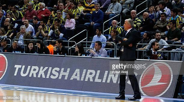 Zeljko Obradovic Head Coach of Fenerbahce Ulker Istanbul in action during the Euroleague Basketball Top 16 Date 6 game between Fenerbahce Ulker...