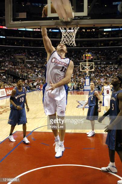 Zeljko Rebraca of the Los Angeles Clippers dunks during the game between the Los Angeles Clippers and Washington Wizards at the Staples Center in Los...