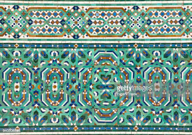 zellige mosaic tilework in hassan ii mosque in casablanca, morocco - moroccan culture stock photos and pictures