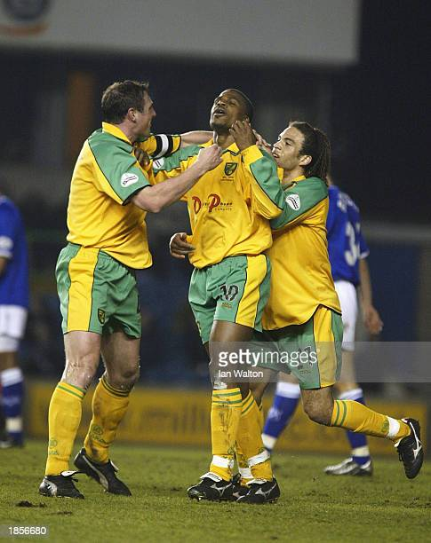 Zema Abbey of Norwich celebrates after scoring a goal during the Nationwide Division One match between Millwall and Norwich City on March 18 2003...