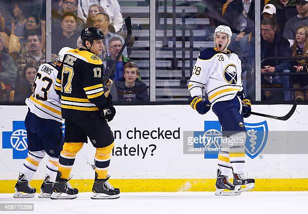 Zemgus Girgensons of the Buffalo Sabres celebrates following his goal in the first period against the Boston Bruins during the game at TD Garden on...
