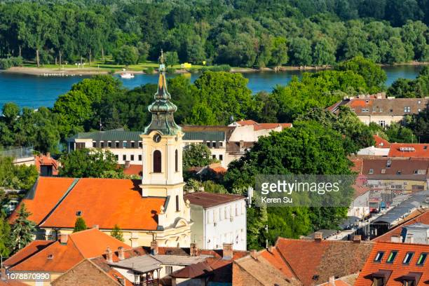 zemun by the danube river, belgrade, serbia - belgrade serbia stock pictures, royalty-free photos & images