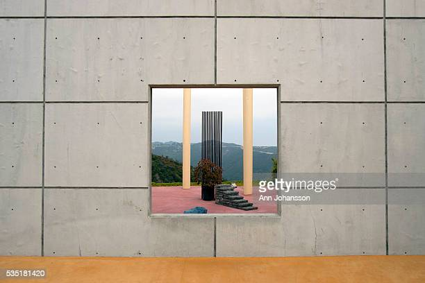 A zen garden is photographed through a cement wall at the Temple of the Muses by architect Cho Yiu Kwan is photographed in Malibu May 22 2011