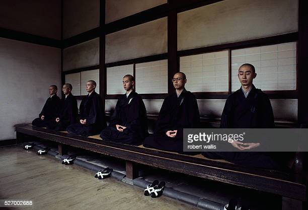 Zen Monks Meditate in Japanese Monastery