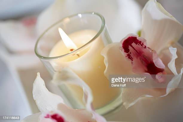 Zen spa candles in calm tranquil settings