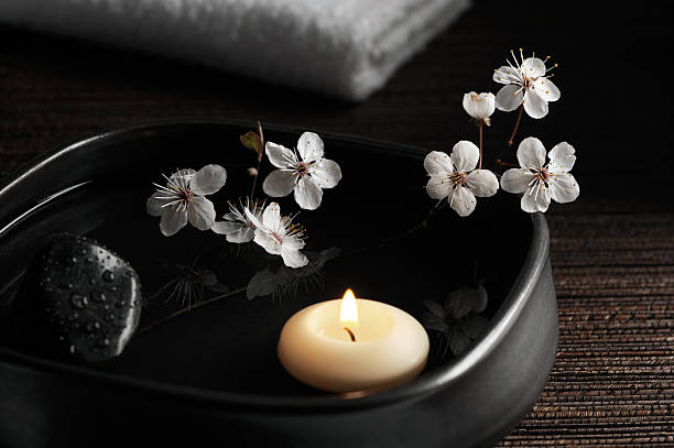 Zen Spa With Floating Candle And Blossoms Wall Art