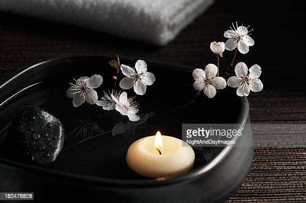 Zen Spa with Floating Candle and Blossoms