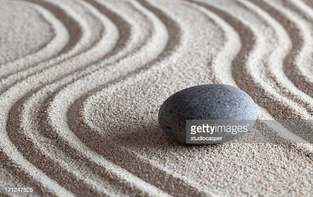 zen stone garden - pebble stock photos and pictures