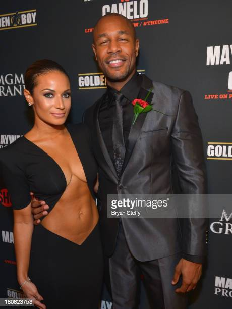 Zena Foster and her husband recording artist Tank Foster arrive at the MGM Grand Garden Arena for the Floyd Mayweather Jr vs Canelo Alvarez boxing...