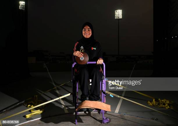 Zenab Albraiki of UAE poses for photos during the 9th Fazza International IPC Athletics Grand Prix Competition World Para Athletics Grand Prix on...