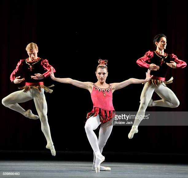 Zenaida Yanowsky with artists of the company in the Royal Ballet's production of George Balanchine's Jewels at the Royal Opera House Covent Garden in...
