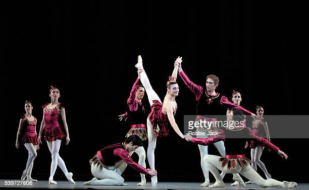 Zenaida Yanowsky with Artists of the Royal Ballet in the Ruby section of the Royal Ballet's production Jewels at the Royal Opera HouseCovent...