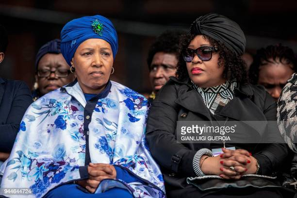 Zenani and Zinzi Mandela arrive to attend a memorial service for late South African antiapartheid campaigner Winnie MadikizelaMandela exwife of...