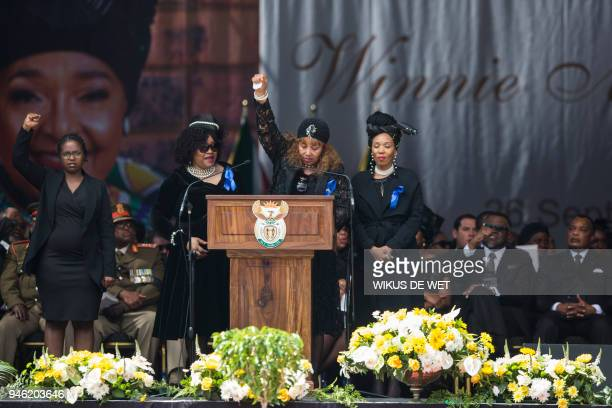 Zenani Mandela-Dlamini , Zindzi Mandela, daughters of Winnie Madikizela-Mandela, and Zindzi Mandela's daughter react as they speak during the funeral...