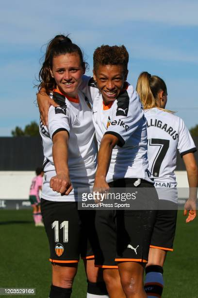 Zenatha Coleman celebrates a goal during the Spanish League Primera Iberdrola women football match played between Valencia CF Femenino and Real Betis...