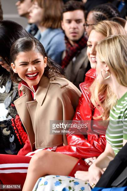 Zendaya and Blake Lively attend the Michael Kors Collection Fall 2018 Runway Show at Vivian Beaumont Theatre at Lincoln Center on February 14 2018 in...