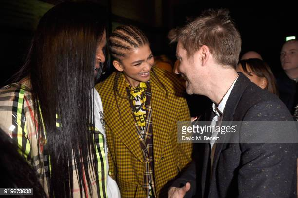 Zendaya and designer Christopher Bailey are seen following the Burberry February 2018 show during London Fashion Week at Dimco Buildings on February...