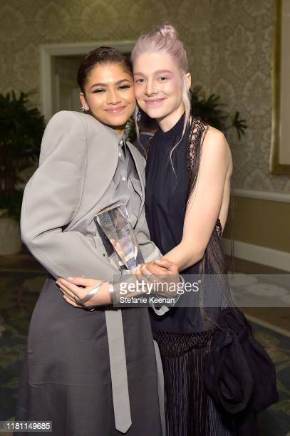 Zendaya and Hunter Schafer attend ELLE's 26th Annual Women In Hollywood Celebration Presented By Ralph Lauren And Lexus at The Four Seasons Hotel Los...