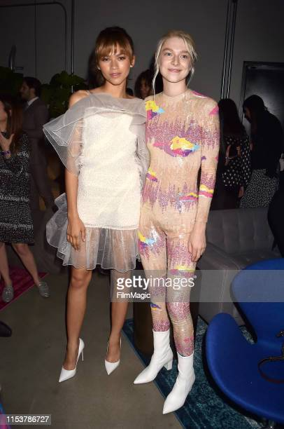 Zendaya and Hunter Schafer attend HBO's Euphoria premiere after party at Neuehouse on June 04 2019 in Los Angeles California