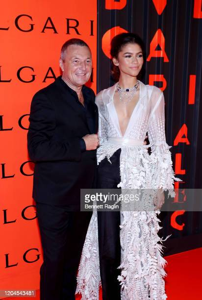 Zendaya and Jean Christophe Babin Bvlgari CEO attend the Bvlgari Bzero1 Rock collection event at Duggal Greenhouse on February 06 2020 in Brooklyn...