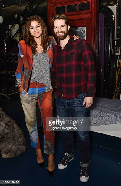 Zendaya and Matthew Morrison backstage at 'Finding Neverland' at LuntFontanne Theatre on August 6 2015 in New York City