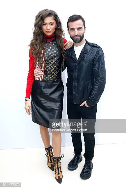 Zendaya and Stylist Nicolas Ghesquiere pose backstage after the Louis Vuitton show as part of the Paris Fashion Week Womenswear Fall/Winter 2016/2017...