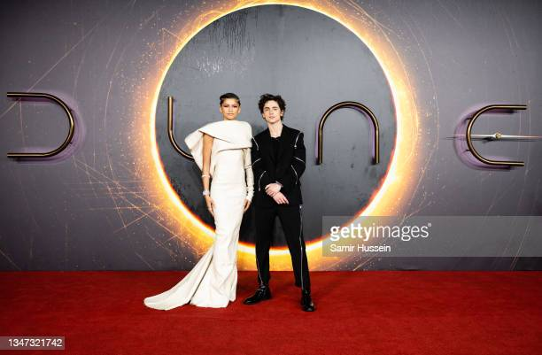 """Zendaya and Timothée Chalamet attend the """"Dune"""" UK Special Screening at Odeon Luxe Leicester Square on October 18, 2021 in London, England."""