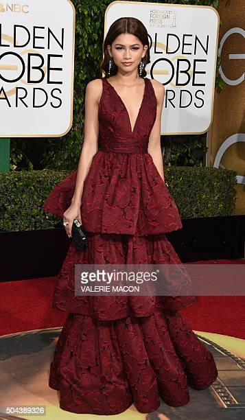 Zendaya arrives at the 73nd annual Golden Globe Awards January 10 at the Beverly Hilton Hotel in Beverly Hills California AFP PHOTO / VALERIE MACON /...