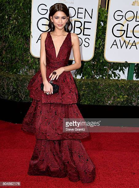 Zendaya arrives at the 73rd Annual Golden Globe Awards at The Beverly Hilton Hotel on January 10 2016 in Beverly Hills California