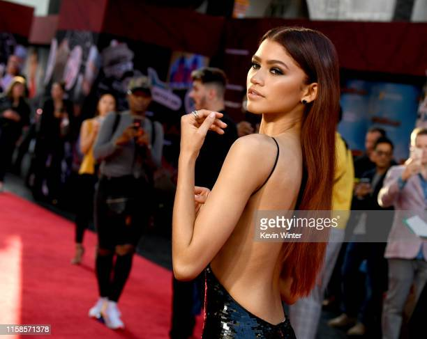 "Zendaya arrives at the premiere of Sony Pictures' ""Spider-Man: Far From Home"" at TCL Chinese Theatre on June 26, 2019 in Hollywood, California."