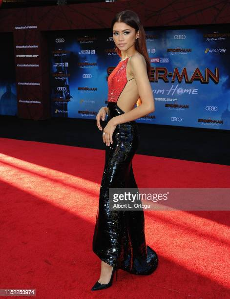 """Zendaya arrives for the premiere of Sony Pictures' """"Spider-Man Far From Home"""" held at TCL Chinese Theatre on June 26, 2019 in Hollywood, California."""