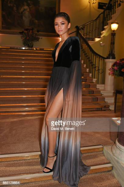 Zendaya attends a drinks reception ahead of the London Evening Standard Theatre Awards 2017 at the Theatre Royal Drury Lane on December 3 2017 in...