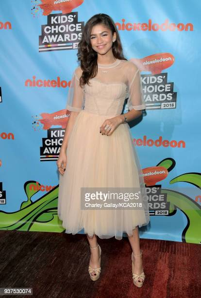 Zendaya attends Nickelodeon's 2018 Kids' Choice Awards at The Forum on March 24 2018 in Inglewood California