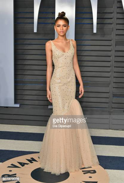Zendaya attends the 2018 Vanity Fair Oscar Party hosted by Radhika Jones at Wallis Annenberg Center for the Performing Arts on March 4 2018 in...