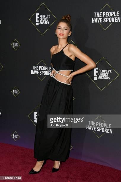 Zendaya attends the 2019 E People's Choice Awards at Barker Hangar on November 10 2019 in Santa Monica California